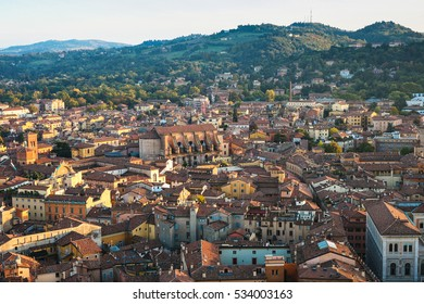 travel to Italy - above view of Bologna city from Torre Asinelli ( Asinelli Tower) at sunset