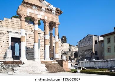Travel to Italy - Colonnade ancient roman monument Capitolium of Brixia (Temple of the Capitoline Triad in Brescia, Capitolium, Tempio Capitolino) in Brescia city, Lombardy