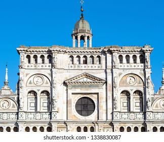Travel to Italy - facade of church in Certosa di Pavia Gra-Car (Carthusian Monastery, Monastero di Santa Maria delle Grazie, Santuario Gratiarum Carthusia) near Pavia city, Lombardy in spring