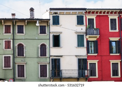travel to Italy - facades on living houses in Verona city