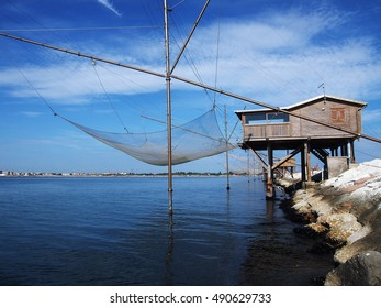 Travel in Italy - Fishing station on the dam of Sottomarina, near Venice, in Italy.