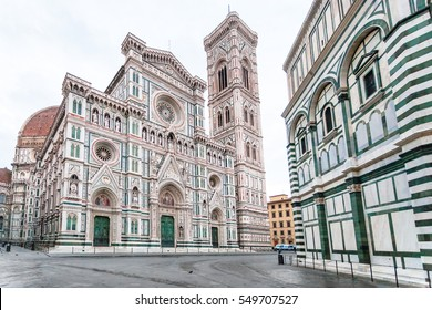 travel to Italy - Florence Duomo Cathedral (Cattedrale Santa Maria del Fiore, Cathedral of Saint Mary of the Flowers), Giotto's Campanile and Baptistery on Piazza San Giovanni in morning
