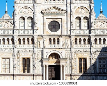 Travel to Italy - front view of church in Certosa di Pavia Gra-Car (Carthusian Monastery, Monastero di Santa Maria delle Grazie, Santuario Gratiarum Carthusia) near Pavia city, Lombardy in spring