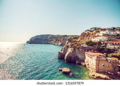 Travel in Italy, Ischia Island, Naples. Famous landmark and tourist destination.