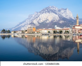 Travel to Italy - Lecco city on shore of Lario Como Lake with mount Monte San Martino, Lombardy in spring