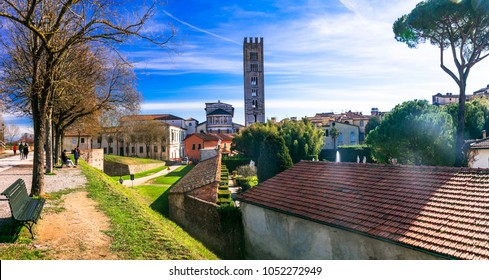 Travel in Italy -medieval Lucca town with beautiful parks, Tuscany, Italy