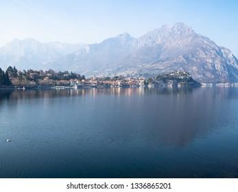 Travel to Italy - mount Moregallo over Lario Como lake and Lecco city, Lombardy in spring haze