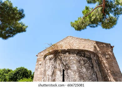 travel to Italy - norman Chiesa di San Nicolo ai Cordari in Archaeological Park (Parco Archeologico della Neapolis) of Syracuse city in Sicily