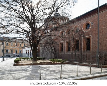 Travel to Italy - side view of Church Chiesa di Santa Maria delle Grazie, house of the mural of The Last Supper by Leonardo da Vinci from street Via Caradosso in Milan city, Lombardy