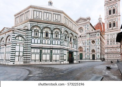 travel to Italy - Square San Giovanni with Baptistery (Battistero di San Giovanni, Baptistery of Saint John) and Duomo Cathedral Santa Maria del Fiore with Giotto's Campanile in Florence in morning