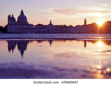 Travel in Italy - Sunset at the Madonna della Salute Church, Venice, Italy, view from St. George Island