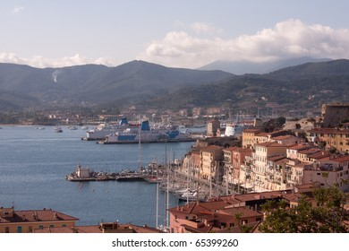 Travel, Italy - View from above of Portoferraio, Elba Island, Italy