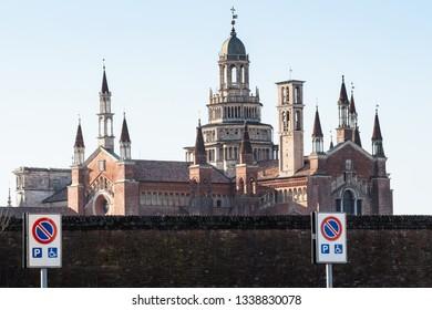 Travel to Italy - view of Certosa di Pavia Gra-Car (Carthusian Monastery, Monastero di Santa Maria delle Grazie, Santuario Gratiarum Carthusia) near Pavia city, Lombardy
