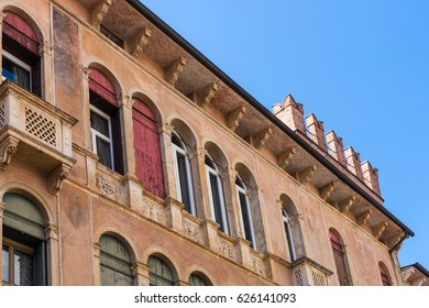 travel to Italy - wall of palazzo Negri De Salvi oggi Casarotti on street Contra Giacomo Zanella in Vicenza city in spring. Palazzo Negri De Salvi is a 12th-16th-century palace