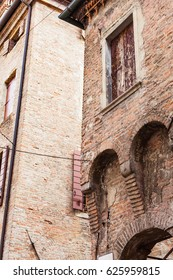 travel to Italy - walls of medieval house on via santa lucia in Padua city in spring
