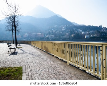 Travel to Italy - waterfront Como Lake along street via Adda in Lecco city, Lombardy