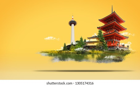 Travel Japan Land of the Rising Sun  with temple,landmark tower and Beautiful nature, Kyoto Tower,Kinkakuji Temple,Kiyomizudera Temple.