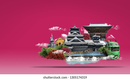 Travel Japan Land of the Rising Sun  with temple,landmark tower and Beautiful nature, Yufuin town, Kumamoto Castle, Yutoku Inari Shrine