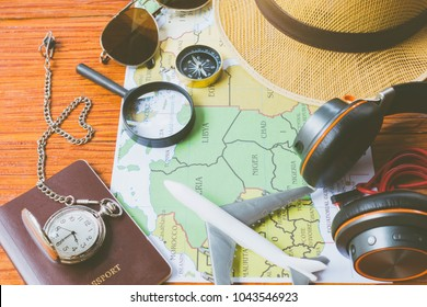 Travel kit on a blue background with free copy space, Summer and Travel concept