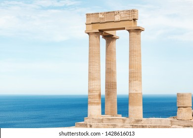 Travel landmarks and archeological sites. Great view of Acropolis ruins in Lindos at the Rhodes island.