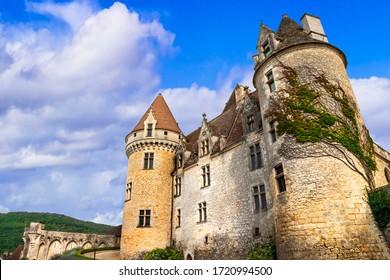 Travel and landmarks of France.  wonderful medieval castle Chateau des Milandes - Dordogne