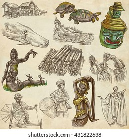 Travel LAOS- Pictures of Life.Collection of an hand drawn colored illustrations - Lao People's Democratic Republic.Pack of full sized hand drawn illustrations,set of freehand sketches.Drawing on paper
