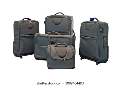 Lot of Travel luggage set with airplane in background