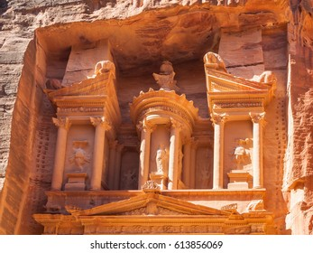 Travel to Middle East country Kingdom of Jordan - upper part of facade The Treasury (al-khazneh) temple in Petra town