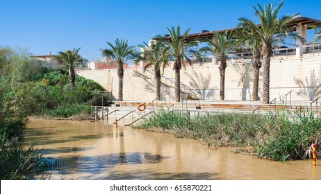 Travel to Middle East country Kingdom of Jordan - view of Baptismal Site Qasr el Yahud in Jordan river on Israel site from Baptism Site Bethany Beyond the Jordan (Al-Maghtas) in winter