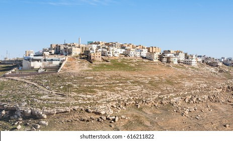 Travel to Middle East country Kingdom of Jordan - view of Al-Karak city in sunny winter day