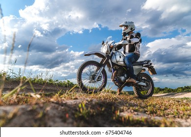 travel motorcycle off road Motorcyclist gear, A motorcycle driver looks, concept, active lifestyle, enduro