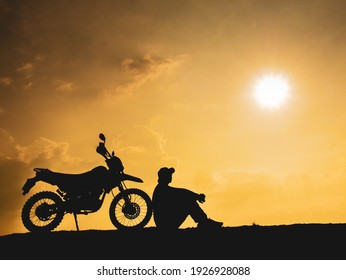 travel motorcycle off-road Silhouette of a motorcyclist