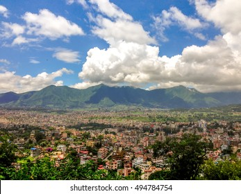 Travel in Nepal: view of Kathmandu valley, Kathmandu city, Nepal.