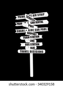 Travel Options Directional Arrow Sign Isolated on black background
