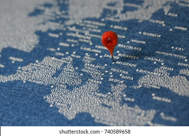 travel painted map with the pin, Romania