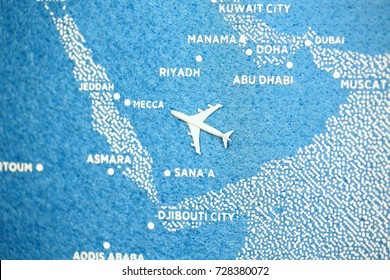 travel painted map with the plane