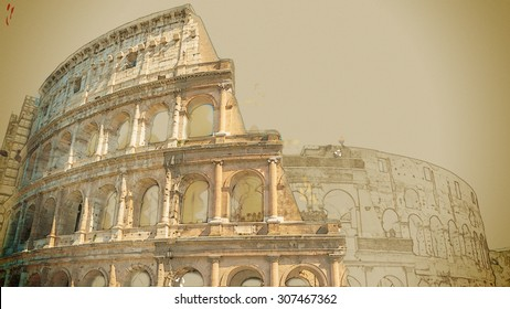 Travel painting with pencil and watercolor. Colosseum (Coliseum) in Rome, Italy. The Colosseum is an important monument of antiquity and is one of the main tourist attractions of Rome.