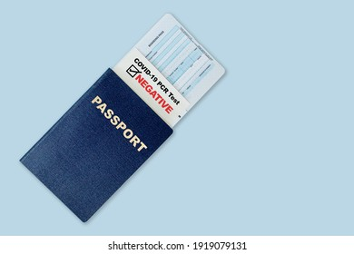 Travel passport, boarding pass and negative test result of COVID-19 PCR test. Concept of new normal future air or land border travel with proof of Coronavirus testing requirement.