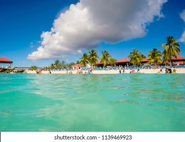 Travel photo from a beautiful part of Eleuthera in Bahamas. View of amazing seaside in Princess Cays in Bahamas with beautiful clouds and waves.