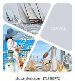 Travel photo collage. Conceptual illustration tourism. Sailing. Yachting. Cruises