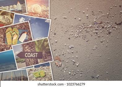 Travel photo collage on beach sand background