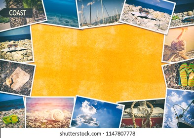 Travel photo collage on orange wall background