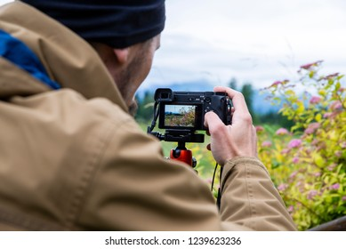 travel photography, close-up on the camera