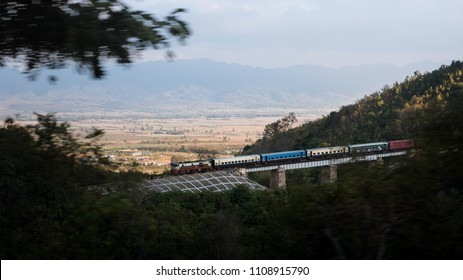 Travel photography in shan state, Myanmar. Railway in the mountain.