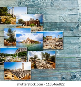Travel photos from turkey, aegean coast. Collection with celsus library, apollo and athena temple, herakleia and spring landscape of bafa lake and olive trees on wooden background