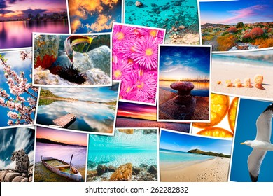 Travel pictures mosaic with seascape photos - these are all photos made by me, that you separately can find on my shutterstock portfolio.