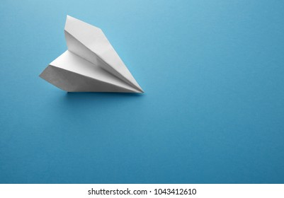 Travel plane concept.Mockup design of travel concept with plane on blue color background with blank empty space for copy space.Horizontal