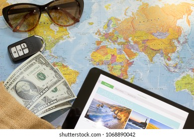 World key images stock photos vectors shutterstock travel planning in smart tablet with us dollar banknotes money personal key car sunglasses gumiabroncs Gallery