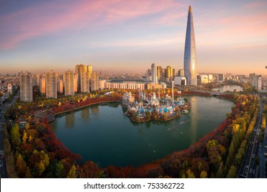 Travel point and Tower and building in Seoul city with autumn and fall park in Korea, Asia