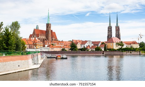 travel to Poland - panorama with Cathedrals and Ostrow Tumski island of Oder River in Wroclaw city in september